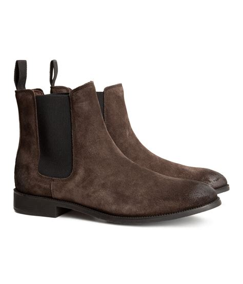 chelsea suede boots mens h m suede chelsea boots in brown for brown lyst