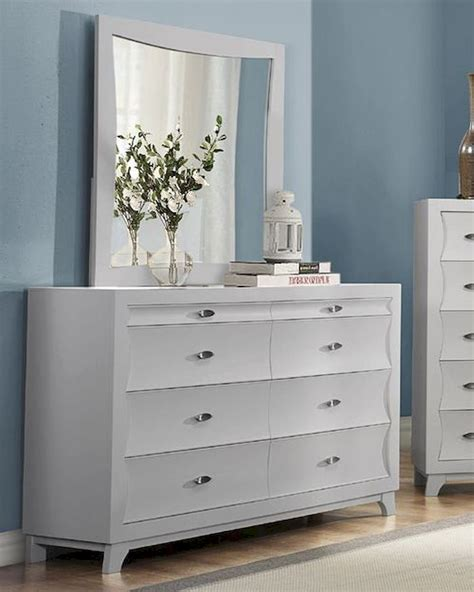 White Dresser And Mirror by Homelegance Dresser And Mirror Zandra In Pearl White
