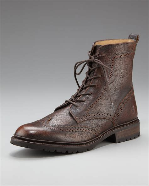 lug boots frye lug wing tip boot in brown for copper lyst