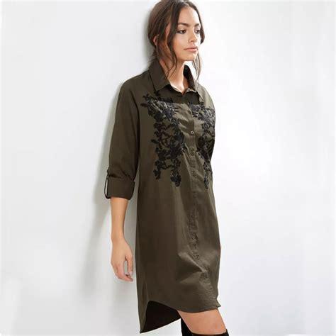 Nyno Tunic Tunik Top Blouse Hq blouse shirt army green sleeve embroidered shirts tops tunic