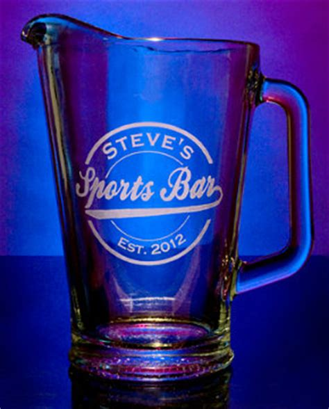 Glass Bar Pitcher Personalized Sports Bar Glass Pitcher