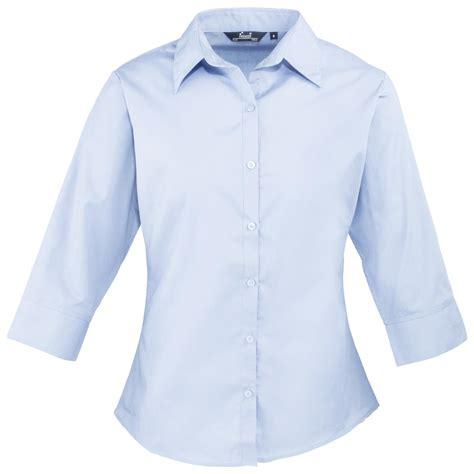 Blouse Premium 46 new premier womens 3 4 sleeve poplin blouse shirt in 8 colours size 6 26 ebay