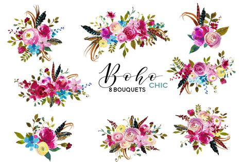 Ui Kits Psd 45 boho chic pink watercolor flowers clipart by