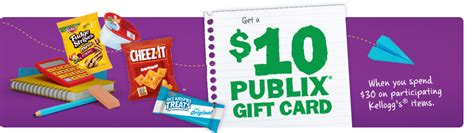 What Gift Cards Are Sold At Publix - kellogg s happy new school year rebate earn a 10 publix gift card