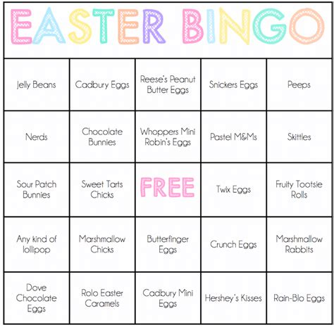 free easter bingo cards that make the best easter games