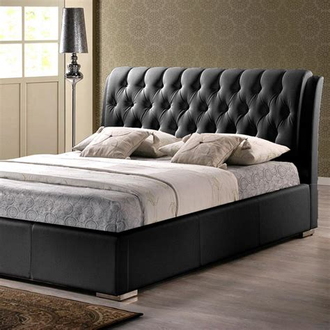 upholstered bed full size baxton studio bianca transitional black faux leather