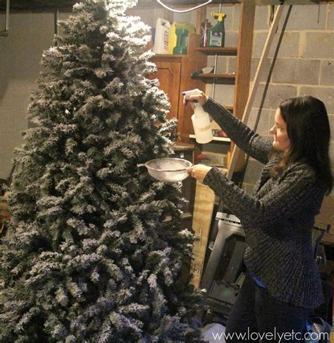 diy flocked christmas tree lovely etc