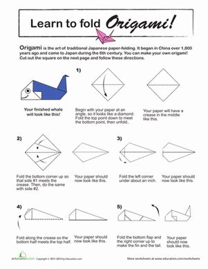 Origami Worksheets - origami whale worksheet education