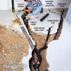 How To Install A Shower In An Existing Bathtub How To Plumb A Basement Bathroom The Family Handyman