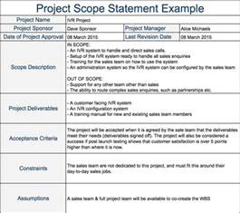 scope statement template project scope statement expert program management