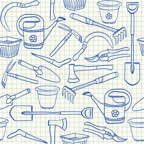 gardening tools doodles stock vector illustration