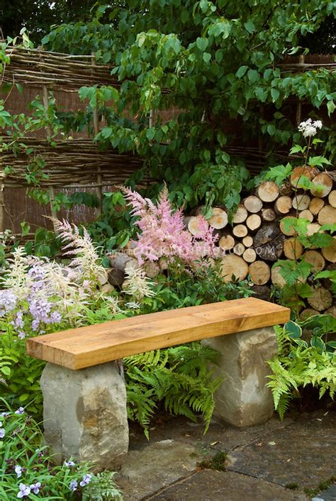 Stone Amp Wooden Bench On Patio In Backyard Garden With