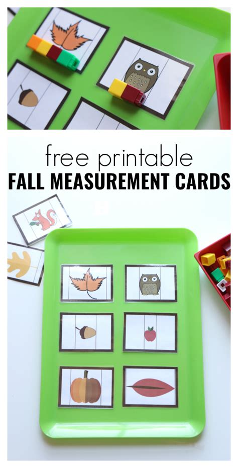 free printable cards for kindergarten fall measurement cards for preschool free printable fall