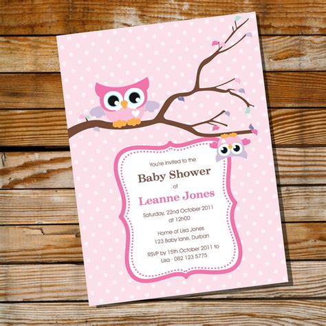 baby owl invitation for a baby shower instantly