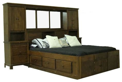 Shaker Queen Pier Wall And Platform Bed Transitional Pier Wall Bedroom Furniture