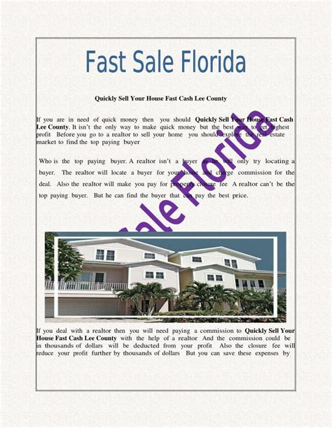 sell house fast cash ppt quickly sell your house fast cash lee county powerpoint presentation id 7509452