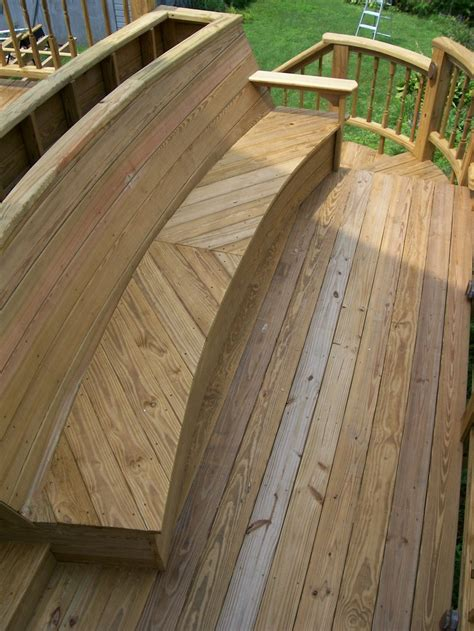 deck benches with backs an inset bench built into a deck with and flower box on