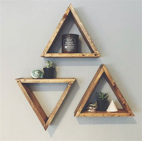 triangle wall shelf single wood triangle shelf geometric wall shelf boho decor
