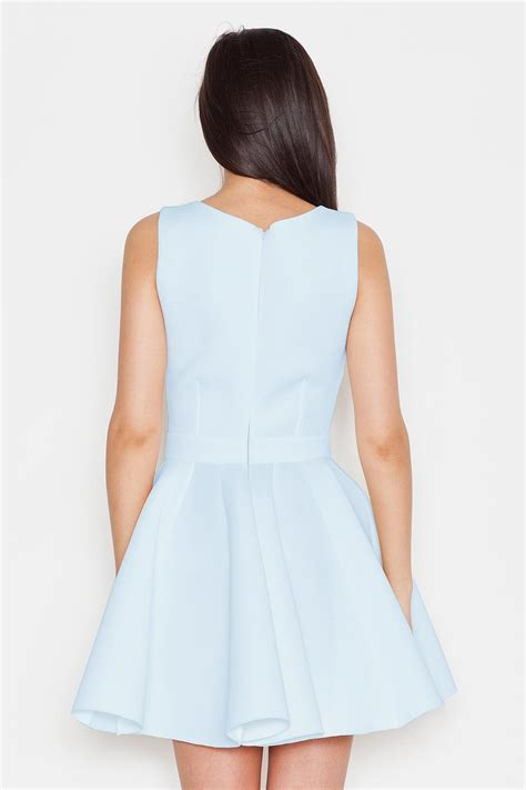 light blue pleated dress with bow belt