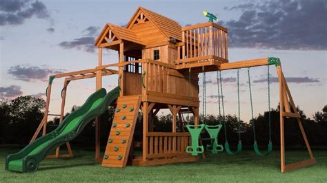 top  wooden swing sets  playsets