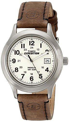 Expedition 6710 White Black Leather Original timex s t49870 expedition metal field brown leather import it all