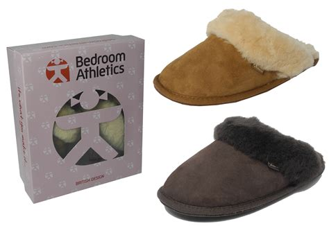 bedroom athletics womens ladies bedroom athletics sheepskin suede mules