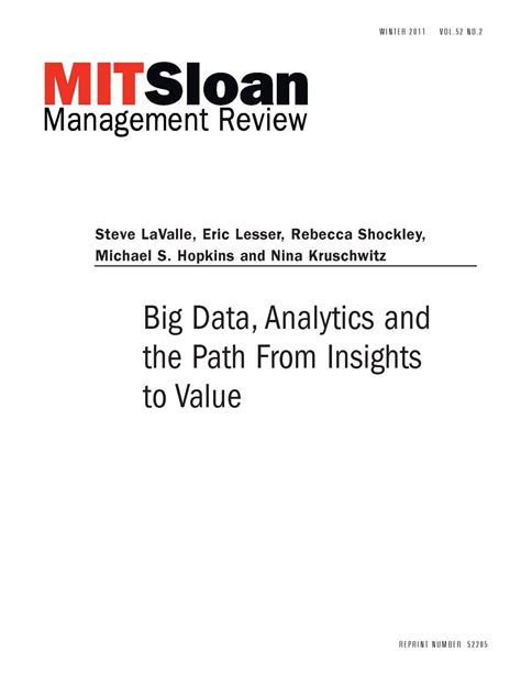 Kumar Applied Big Data Analytics In Operations Management 2017 big data analytics and the path from insights to value mit smr store