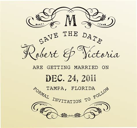Save The Date Vintage Design Typewriter Font Digital File Save The Date Rubber St Template