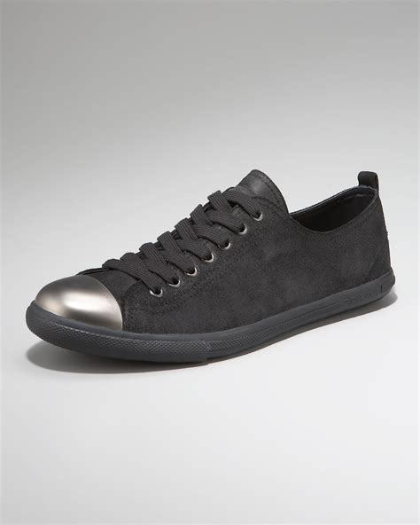 steel toe sneakers prada steel toe sneaker in black for lyst