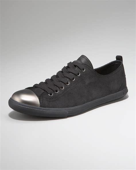 mens steel toe sneakers prada steel toe sneaker in black for lyst