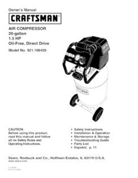 921 166420 craftsman 20 gallon 1 5 hp air compressor owners manual