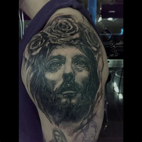 rose tattoo on black skin jesus with crown by michael hsieh tattoonow
