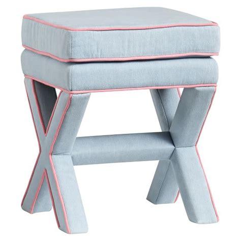 x ottoman stool chambray x frame ottoman stool pbteen
