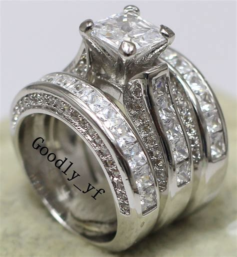 3 In 1 Rings princess cut 7mm topaz 14k white gold filled wedding band ring 3 in 1 set ebay