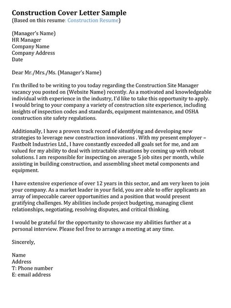Cover Letter For Resume Construction Manager Construction Cover Letter Sles Resume Genius
