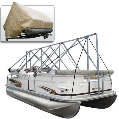 navigloo pontoon boat covers navigloo boat shelter with tarp for 19 ft 22 ft 6 in