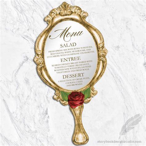 Dijamin Dies Cut Mirror and the beast wedding menus die cut mirror printed 테이블 세팅 및 동화