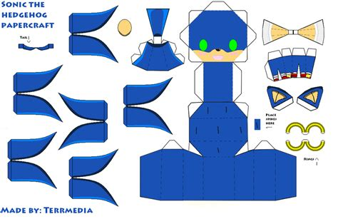 sonic the hedgehog papercraft by terrmedia on deviantart