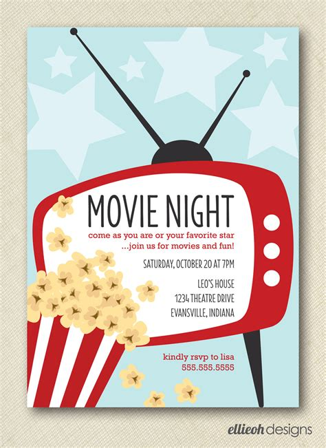 movie night party invitation movie night invite printable digital file diy by