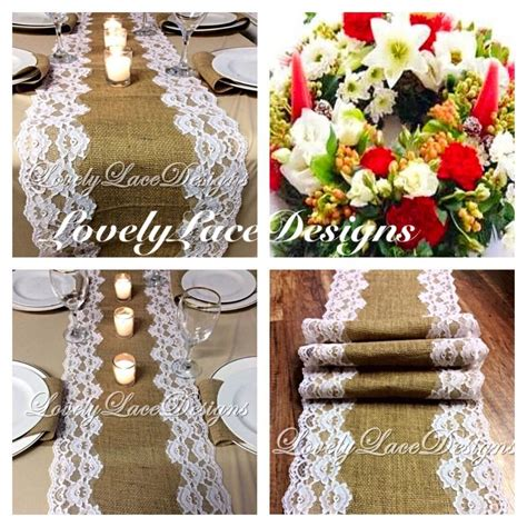 christmas table runner burlap white lace 5ft 10ft x