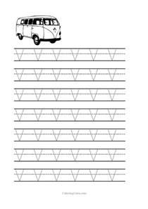 free printable tracing letter v worksheets for preschool