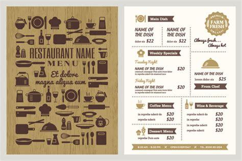 diner menu template free restaurant menu template vintage vector free vector in