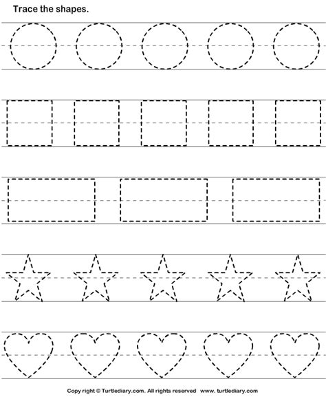 Tracing Name Worksheets For Preschoolers by Trace And Color Shape 2 Worksheet Turtlediary