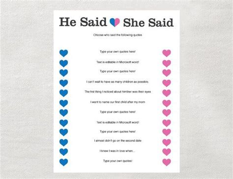 libro he said she said the instant he said she said game instant download for bridal shower baby shower bachelorette