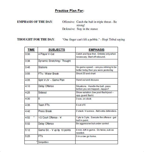 practice schedule templates 15 free word excel pdf