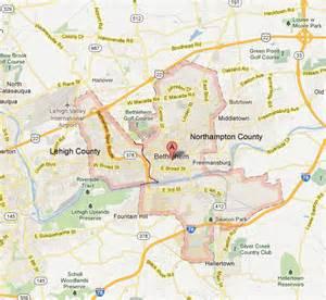 Bethlehem pa lehigh county map