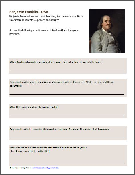 benjamin franklin biography 3rd grade benjamin franklin worksheet packet mamas learning corner