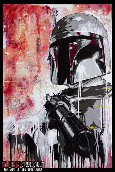 boba fett acrylic  spray paint  collage canvas