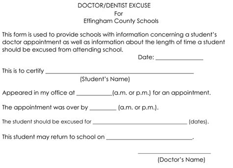 Dental Excuse Letter Template Doctors Note Template 10 Professional Sles To Create Notes