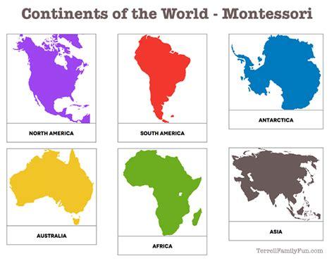 montessori printable templates continents of the world montessori printable